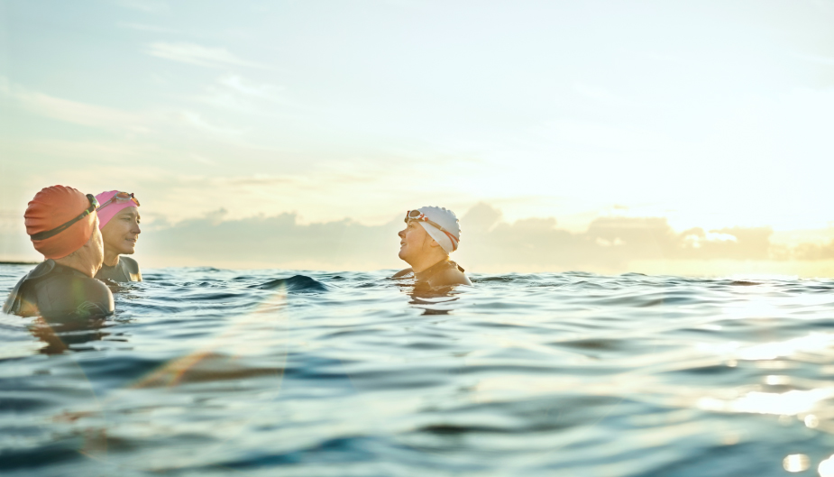 Swimming in open sea during travel