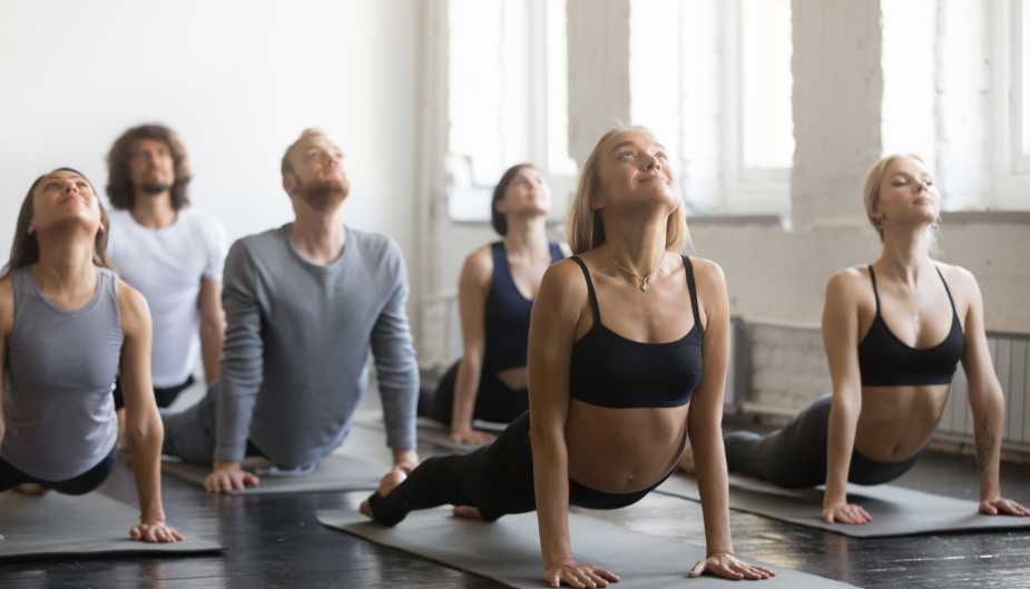Yoga class, men and women, probiotics