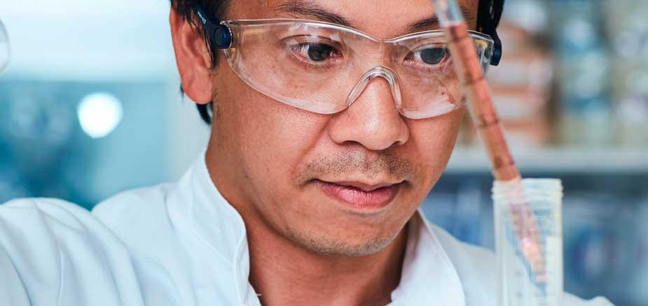 Scientist analyzing probiotics